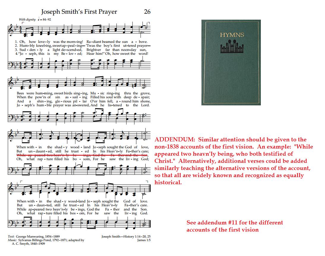 Addendum #37- Hymns, #26, Joseph Smith's First Prayer | MEAT AFTER MILK